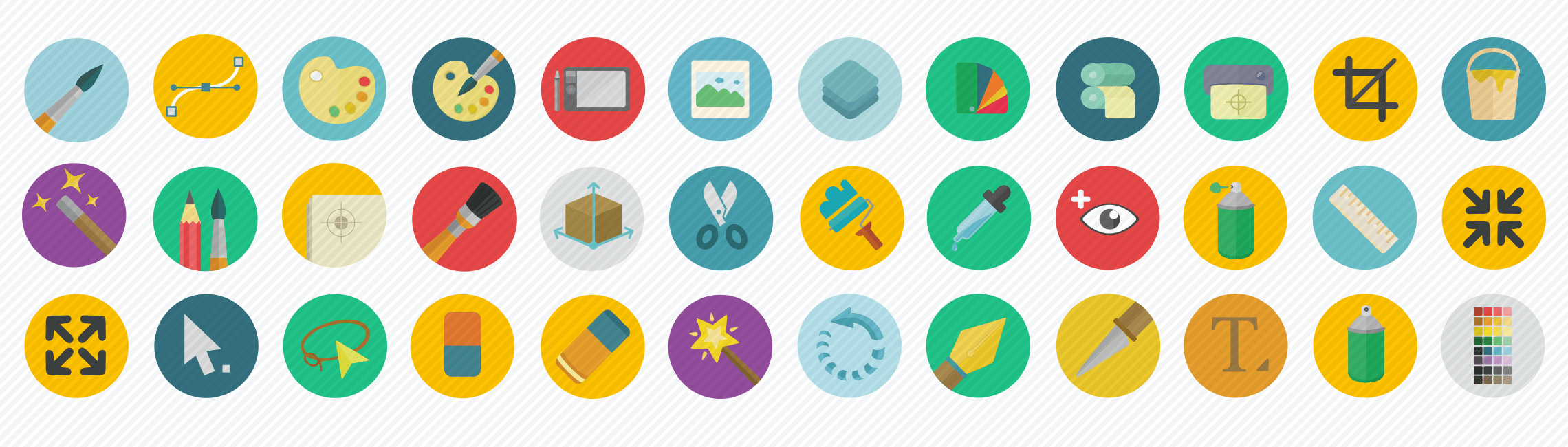 graphic design flat icons set