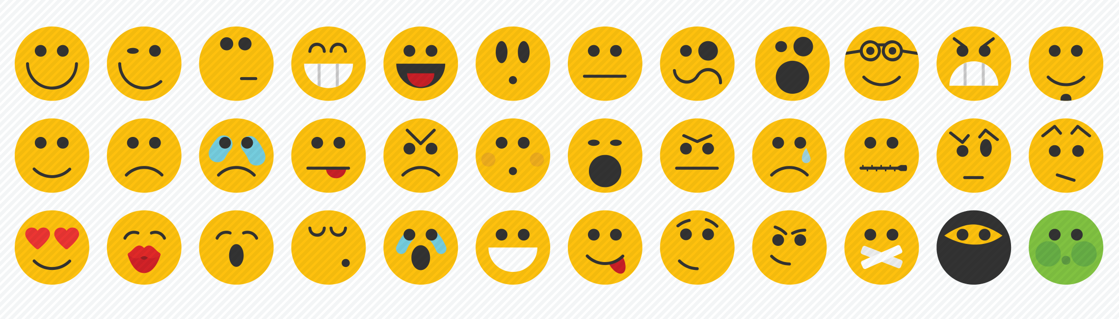 smilies flat icons set