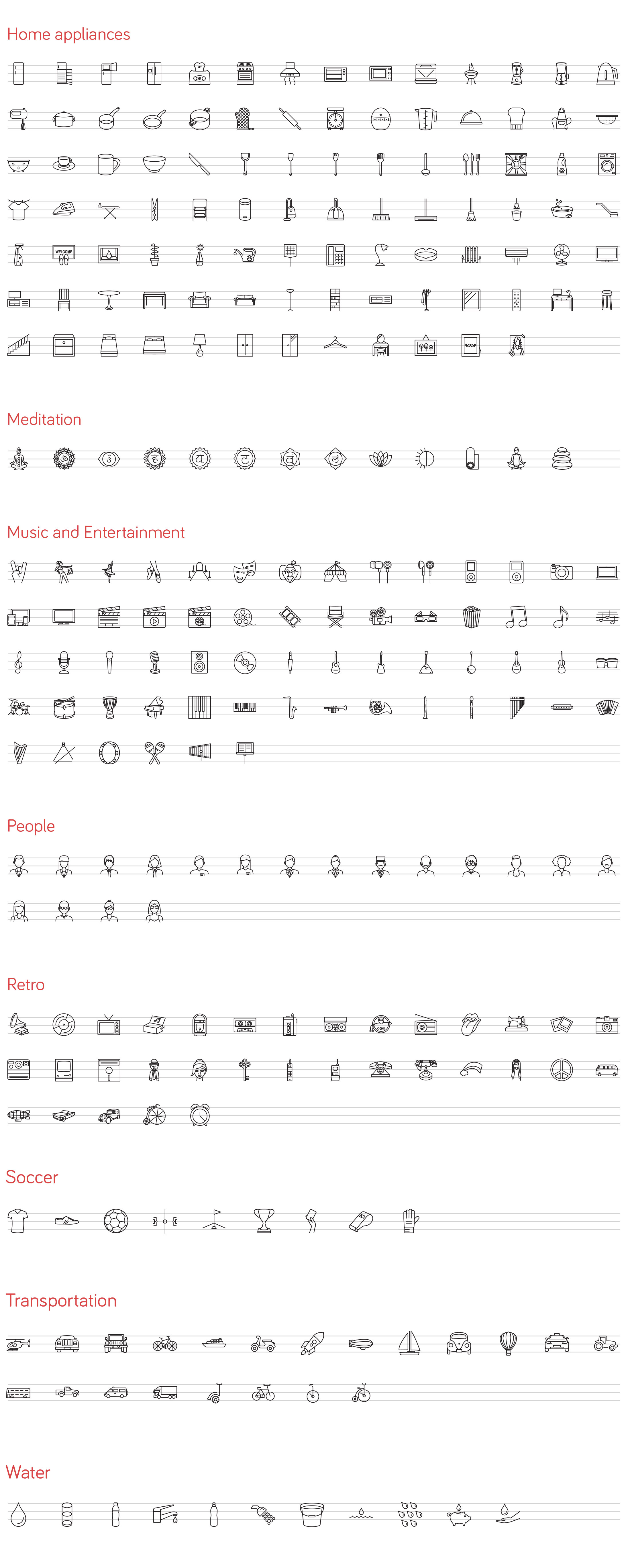 vector line icons set