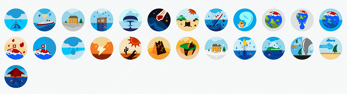 Disasters-flat-icons-set