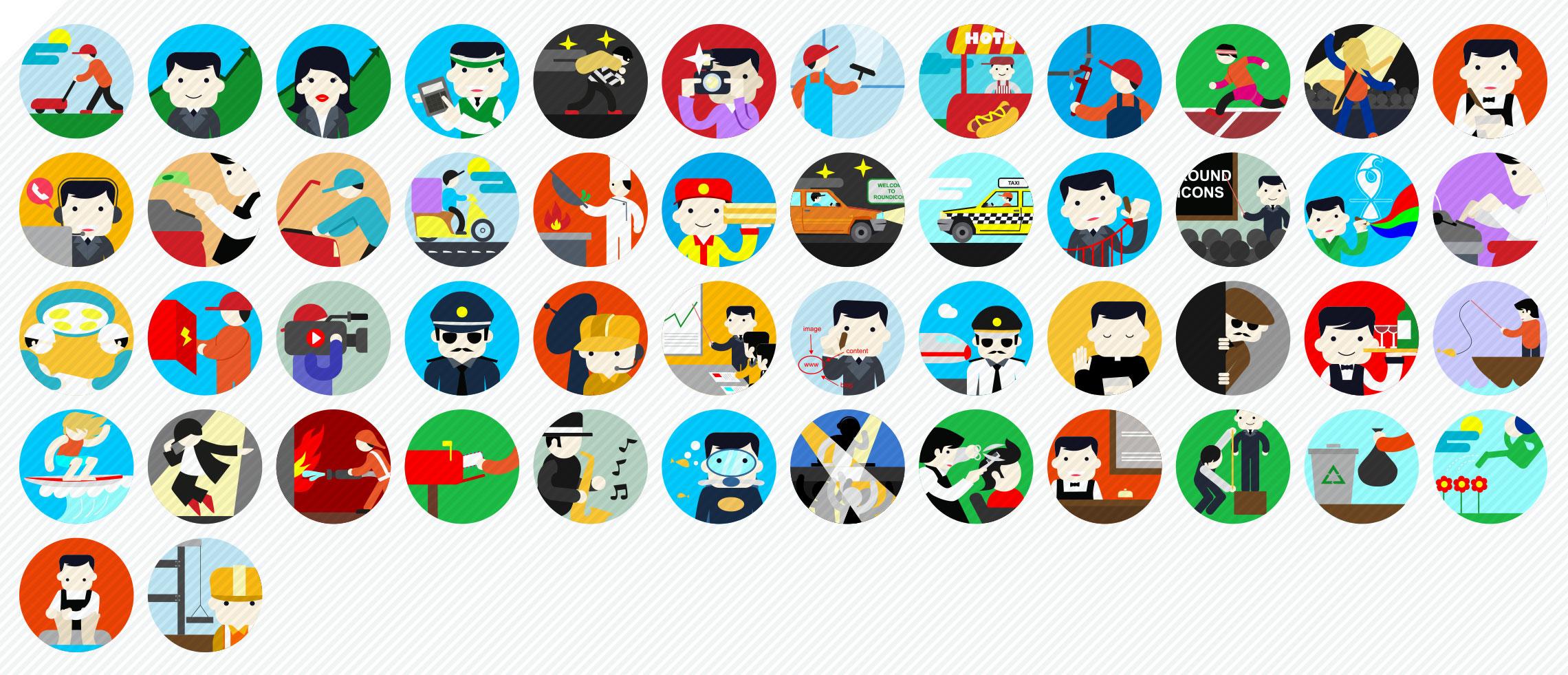 jobs flat icons