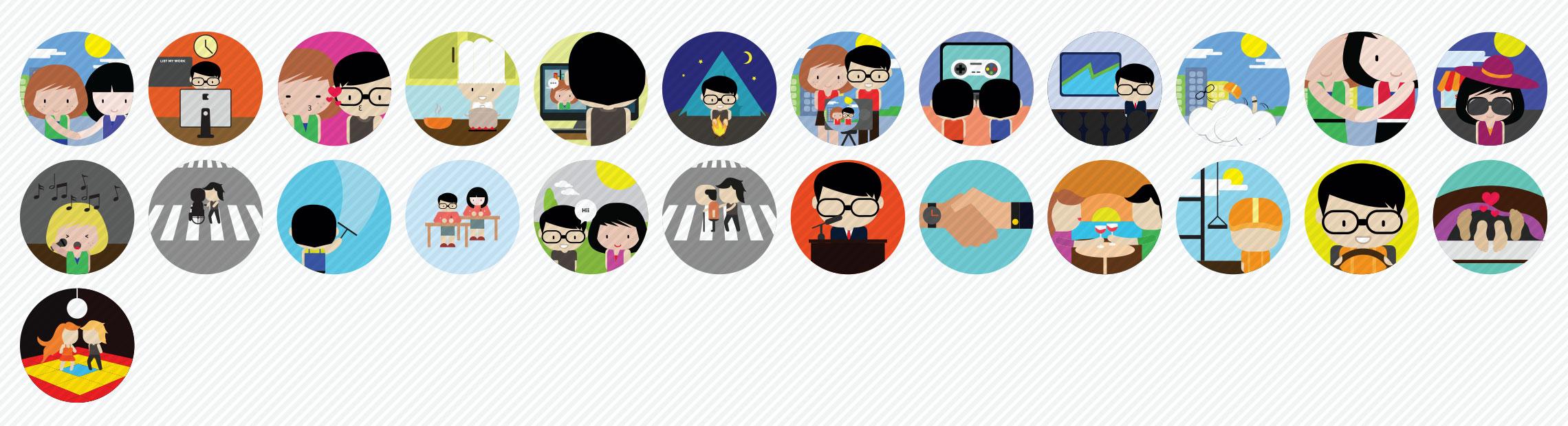 Social-Interactions-Flat-Icons