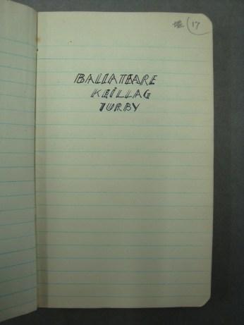 Bersu's Diary from Ballateare