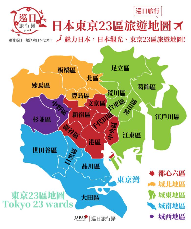 東京都23區地圖 | 東京都特別區 | Tokyo 23 wards | 都心六區 | 城北地區 | 城東地區 | 城南地區 | 城西地區 | 巡日旅行攝