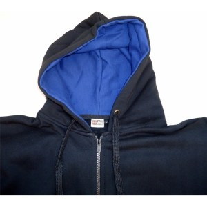 casaco hoodie preto com azul escuro