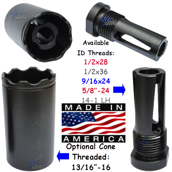 "FRH V2 Flash Redirecting Multipurpose Muzzle Device 1/2x28 1/2""-28 .223 5.56 9mm 40 cal 13/16x16 13/16""-16"