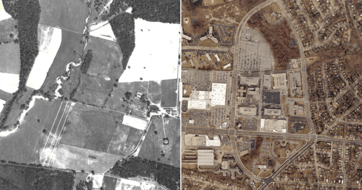 A side-by-side image shows two aerial views of the same neighborhood, surrounding what is now Prince George's Plaza and the Mall at Prince George's. On the left is a black and white image showing agricultural lands with a stream running north to south. On the right, we see an intensely developed suburban Mall. Visible is the Prince George's Plaza Metro Station.