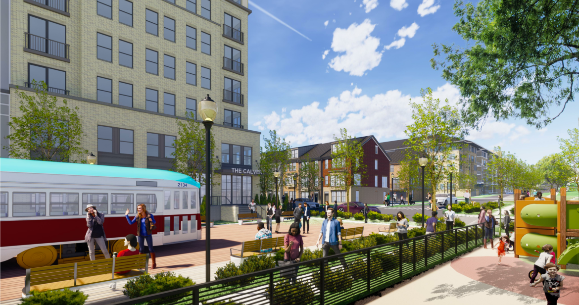 An architectural rendering shows a proposed pedestrian plaza in an urban area featuring a preserved trolley car.