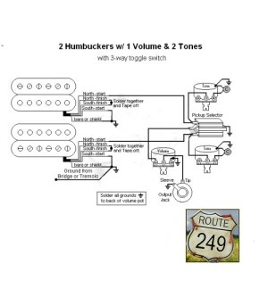 Wiring Two Humbuckers with One Volume and Two Tone Controls  Route 249