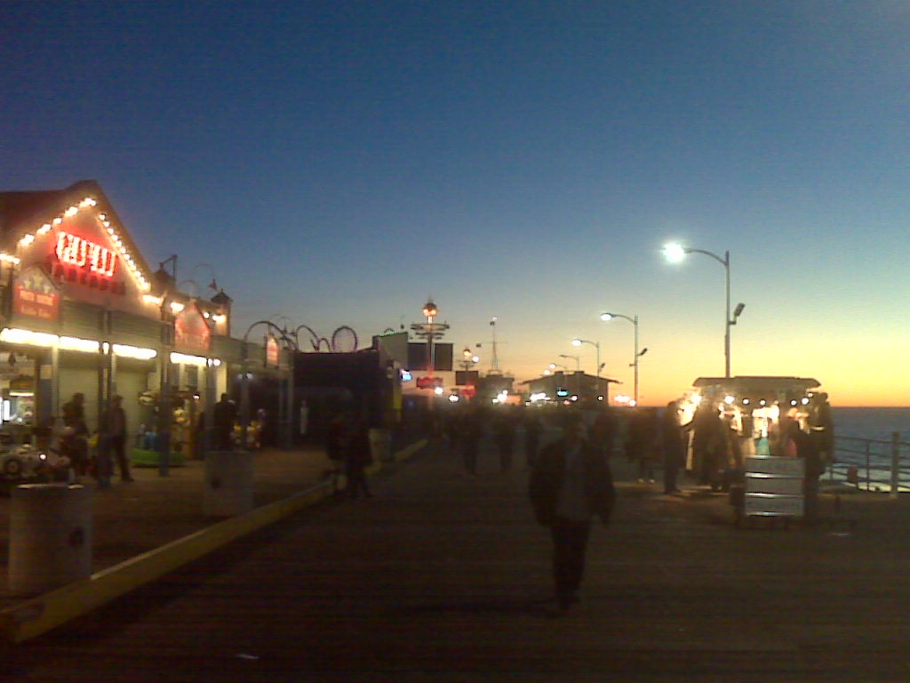 The Santa Monica Boardwalk this evening