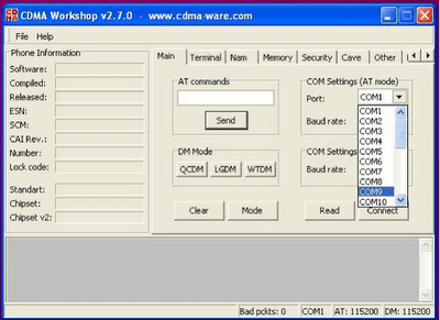 CDMA Workshop Tool main tab - COM Port Selection