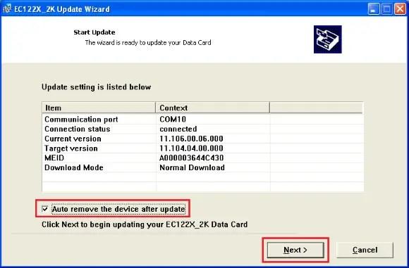 EC122 CDMA modem dongle firmware update
