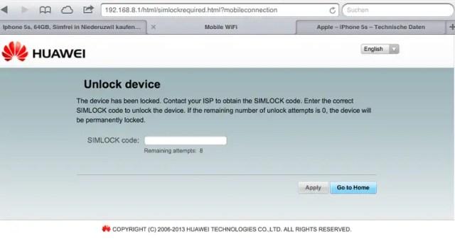 Unlock Huawei E5372 WiFi router