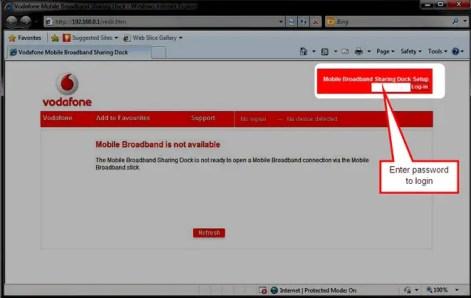 Vodafone Sharing Dock R101 login