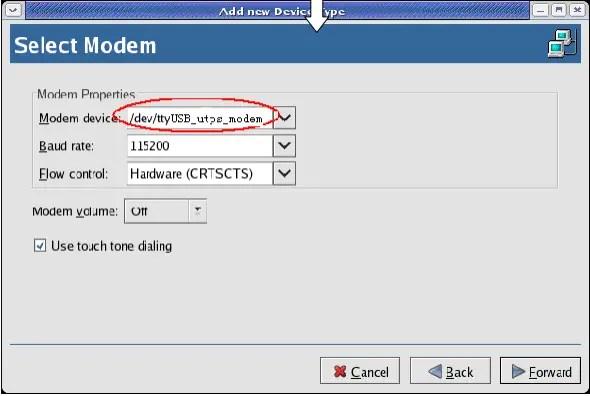 Select Modem Type