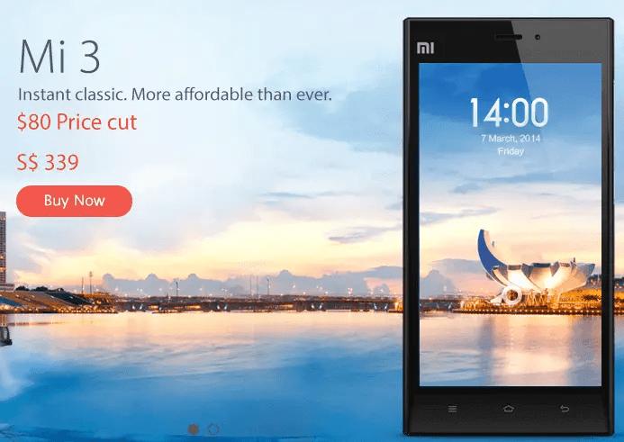 Xiaomi Mi 3 price cut