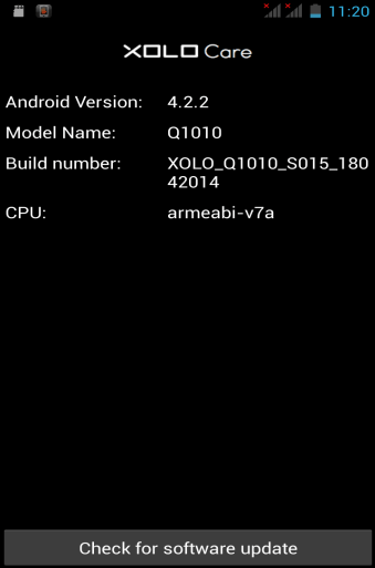 Xolo Q1010 firmware update - Check for software update