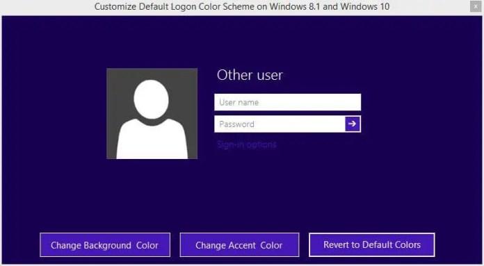 Customize Default Logon Color Scheme on Windows 8.1 and Windows 10