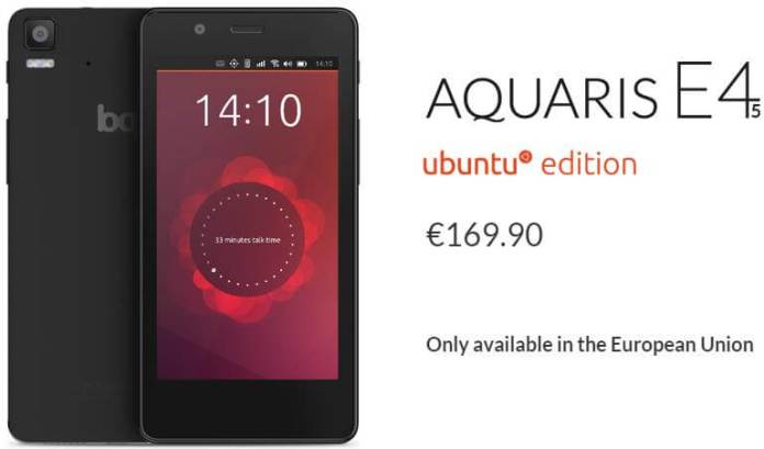 BQ Aquaris E4.5 Ubuntu Edition in Europe