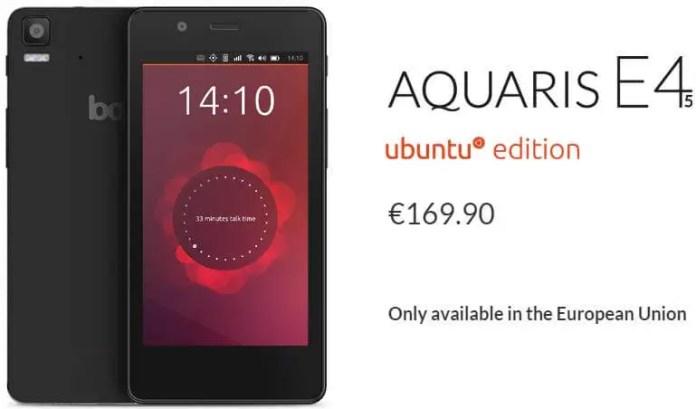 BQ Aquaris E4.5 Ubuntu Edition in Europe