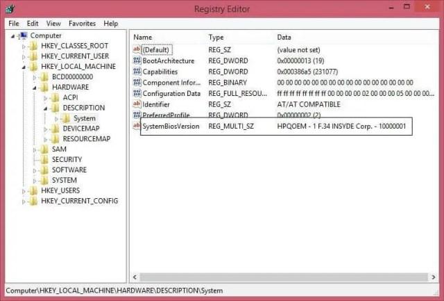 Registry Editor - BIOS Version