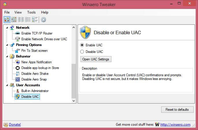 disable or enable the UAC (User Account Control)