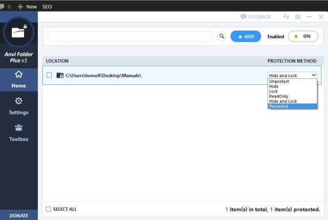 Anvi Folder Locker - Protecting Options