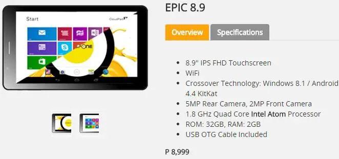 Cloudfone Epic 8.9