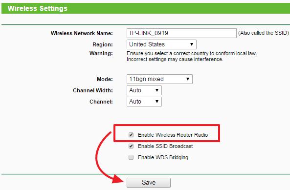 Sluk Wi Fi på TP-Link Router