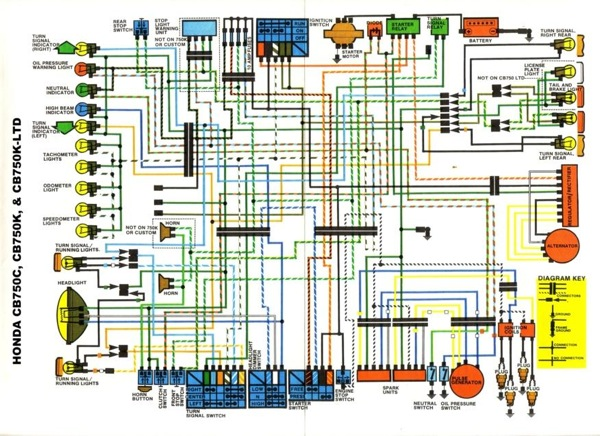 Honda CB750C Dual Cam Wiring Diagram
