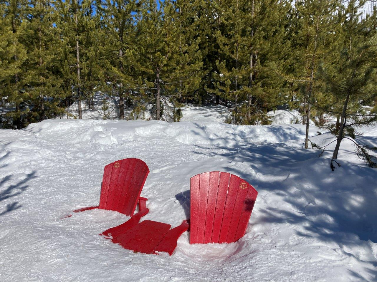 Marble Canyon red chairs in winter