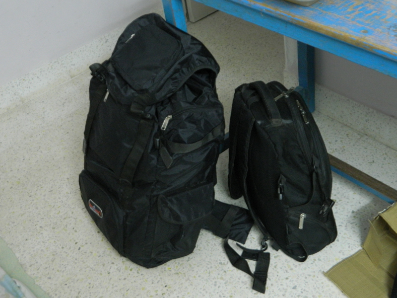 here are my hiking bags that include one backpack and other carry bag