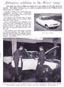 Rover 2000 Launch Article Grenville Motors 14-8-1964