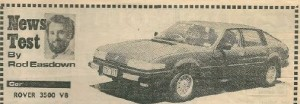 Rover 3500 Road Test WA Daily News 12-2-1979 Title Photo
