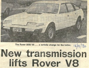 Rover 3500 SD1 5-speed manual SMH Title 14-9-1980