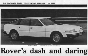 Rover 3500 SD1 Road Test National Times 10-2-1979 Title Photo