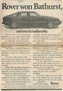 DSC_0010 Rover 3500 SE & VDP Rover Won Bathurst Ad 22-2-1985