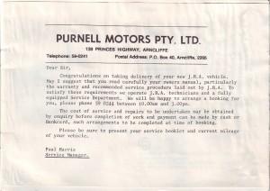 SD1 1984 Purnell Motors letter