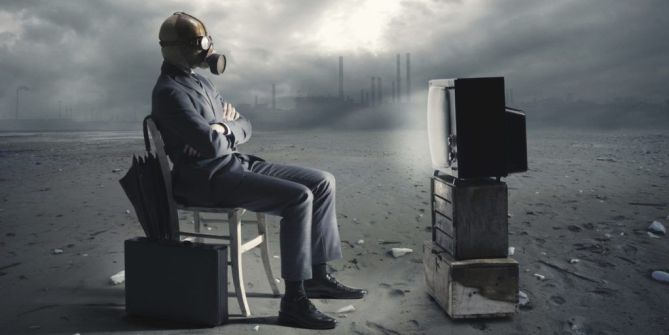 businessman with gas mask watching TV