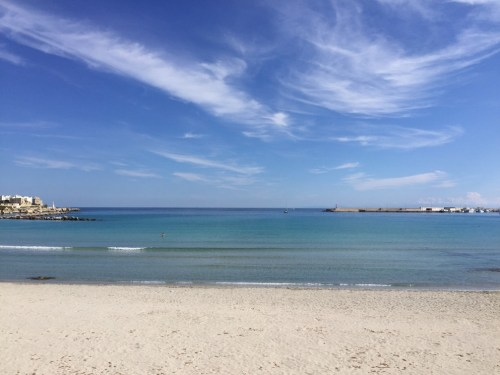 The very calm and turquoise waters of Otranto's beach on the east coast of salento