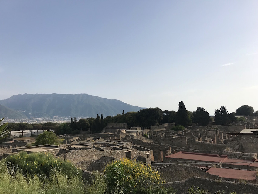Views looking down at Pompeii