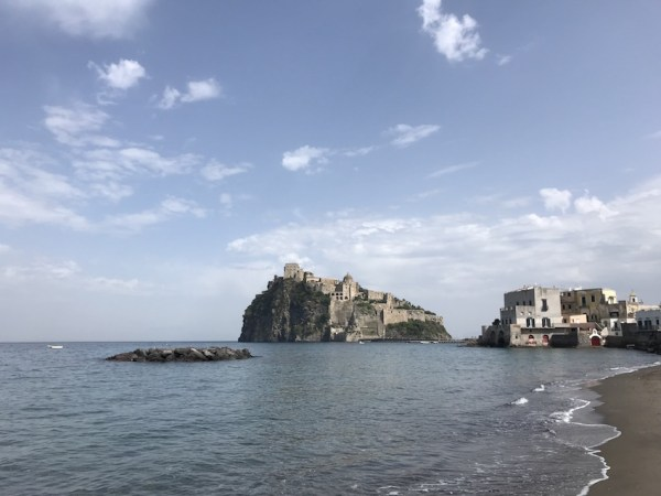 Castello Aragonese surrounded by ocean