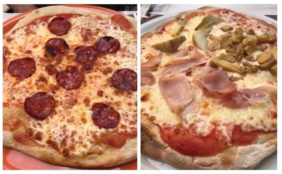 Eating pizza in Menaggio