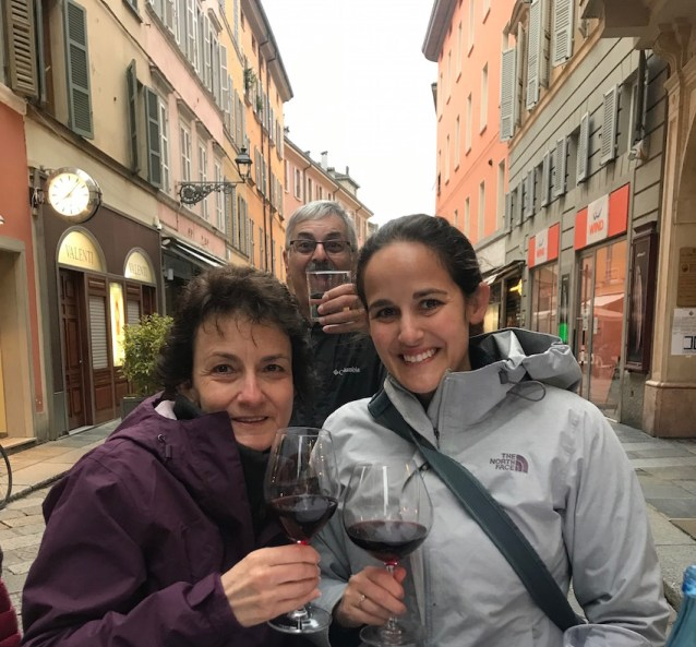Drinking wine in Parma