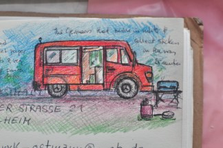 2 germans, 1 fire-fighter van, 25 stickers