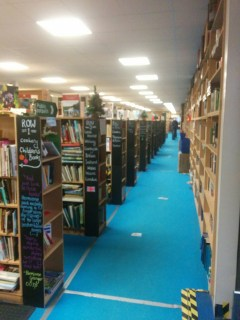 I didn't get a picture of the outside, but here's what half a million books looks like. Apologies for the picture quality; I need a new phone.