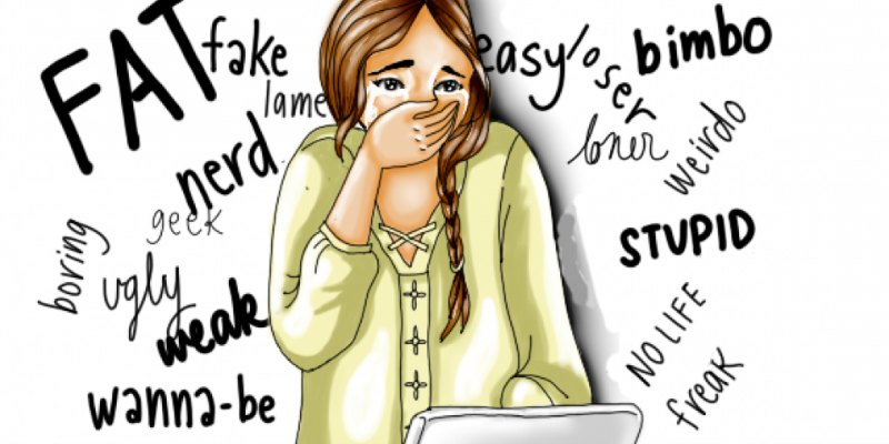 a cartoon of a teenage girl holding her hand over her mouth in shock as words like fat and stupid appear behind her