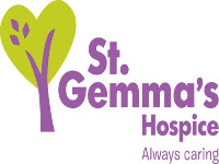 the st gemmas hospice logo which is a purple and green tree on a white background, for a uk charity