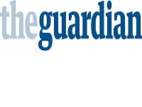 the guardian newspaper logo which is blue lettering on a white background