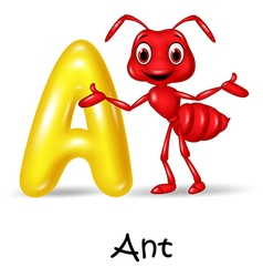 a cartoon of a red ant standing next to a yellow capital letter A. Text reads 'A is for ant'
